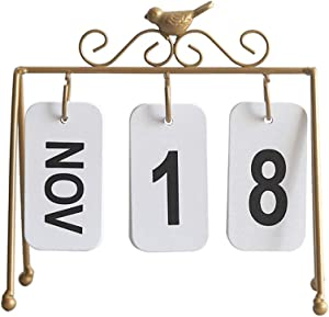 Exceart Small Desk Calendar Decor Vintage Perpetual Desk Calendar Metal Reproduction