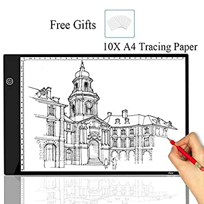 A4 Tracing Light Box Portable LED Light Table Tracer Board Dimmable Brightness Artcraft Light Pad for Artists Drawing 5D DIY Diamond Painting Sketching Tattoo Animation Designing with 10 Paper
