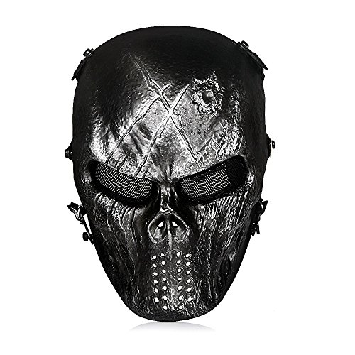 Rubber Face Masks Halloween (OutdoorMaster Airsoft Mask - Full Face Mask with Mesh Eye Protection (Iron)