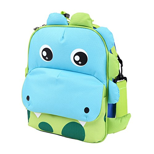 Yodo 3-Way Convertible Playful Insulated Kids Lunch Boxes Carry Bag/Preschool Toddler Backpack for Boys Girls, with Quick Access front Pouch for Snacks, Dinosaur -