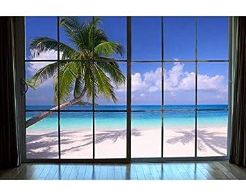 Vlies Fototapete Strand Hinterm Fenster 375 X 250 Cm Wandbilder