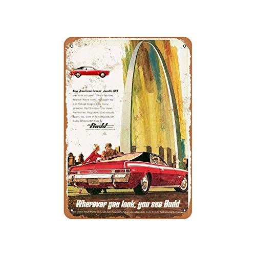 Fhdang Decor Vintage Pattern 1968 AMC Javelin SST and Budd Vintage Look Aluminum Sign Metal Sign,6x9 Inches