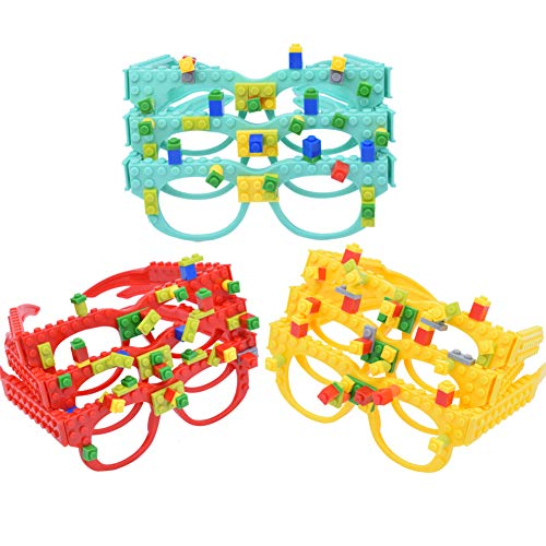 DIY Building Bricks Glasses Children's Early Education Enlightenment Intelligence Toys Creative Party Favors Creative Building Block Brick Glasses 9 Pcs/Set ()