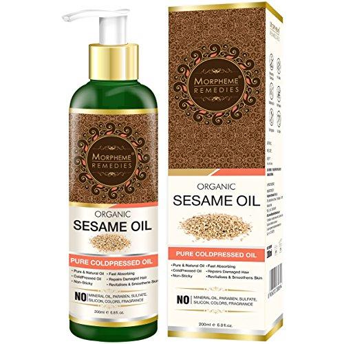 (Morpheme Remedies Organic Sesame Oil (Pure ColdPressed Oil) For Hair, Body, Skin Care, Massage, 200 ml)