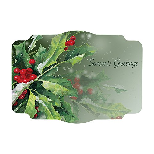 Places 1000 (Hoffmaster 311120 Holly Greetings Printed Place Mat, 9-3/4