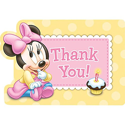 Minnie Mouse 1st Birthday Thank You Notes w/ Envelopes (8ct) (1st Birthday Thank You)
