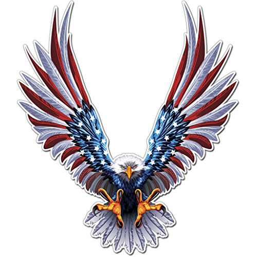 (Bald Eagle American Flag Sticker/Decal - 6