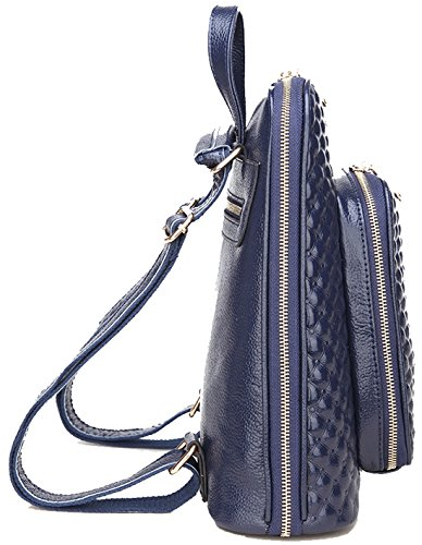 Women's Casual Coolcy Bag Backpack Genuine blue Fashion Shoulder Royal Leather New a7qw7EY
