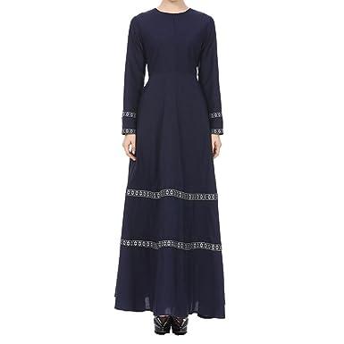 Pingtr Damen Lange Maxikleid - Frauen Muslim Abaya Dubai Muslimische ...