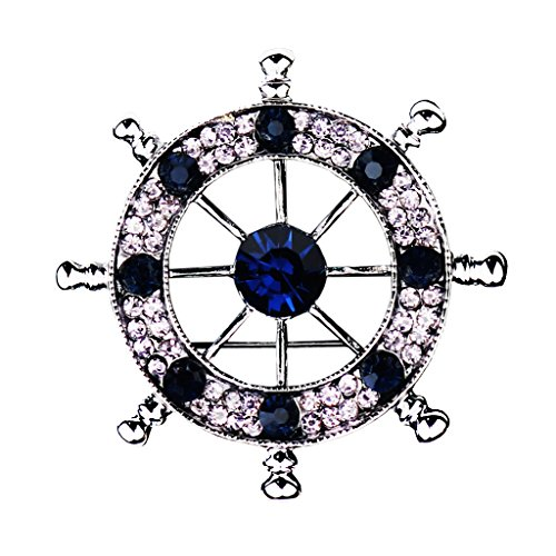 Jili Online Men Nautical Brooch Badge Pin Ships Wheel Helm Pin Pin Clips Navy Style Crystal Corsages - Silver