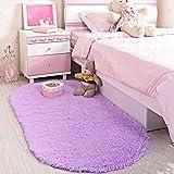 LOCHAS Ultra Soft Children Rugs Room Mat Modern Shaggy Area Rugs Home Decor 2.6' X 5.3', Purple