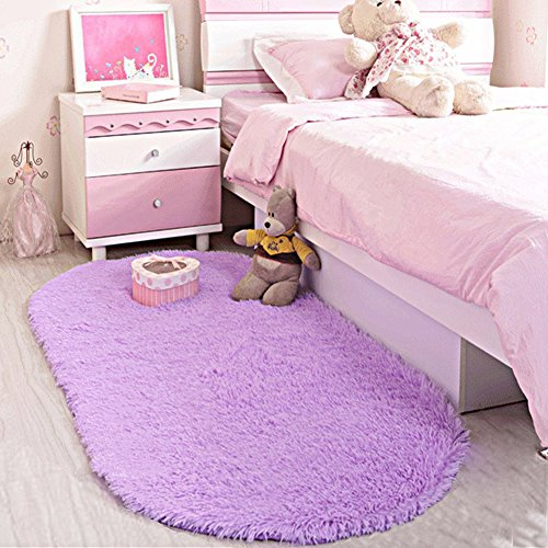 LOCHAS Ultra Soft Children Rugs Room Mat Modern Shaggy Area Rugs Home Decor 2.6' X 5.3', Purple (Little Children Rug)