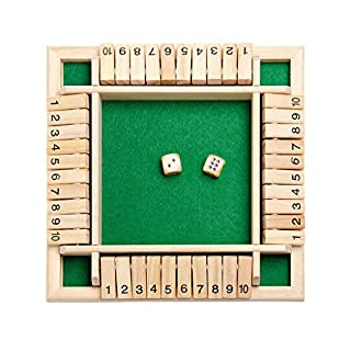 Shut The Box Yocartgo Dice Game,Traditional Four Sided Wooden 10 Number Pub Bar Board Dice,Wooden Board Math Games for Shut The Box (A)