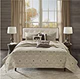 6 Piece Bear Animal Motif Coverlet Set King/Cal King Size, Featuring solid Pine Tree Lodge Inspired Nature Herringbone Design Bedding, Casual Stylish Cabin Themed Bedroom Decor, Beige, Brown, Multi