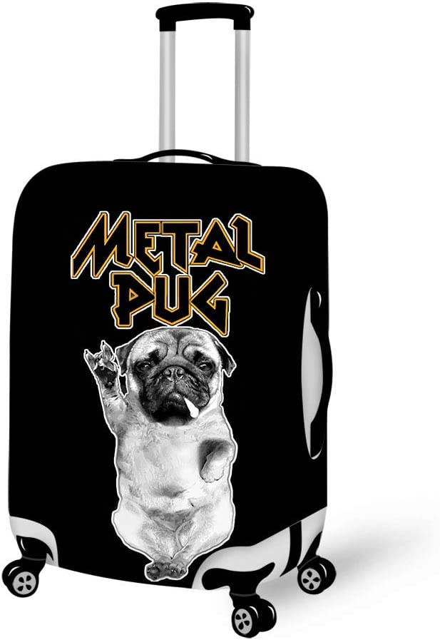 Luggage Cover Heavy Metal Music Pug Protective Travel Trunk Case Elastic Luggage Suitcase Protector Cover