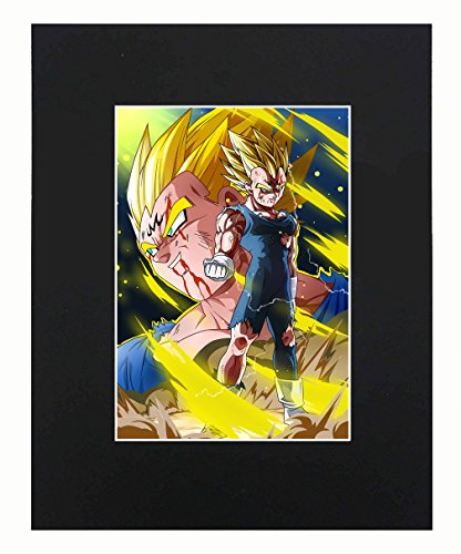 Dragon Ball Super Z Majin Vegeta Japanese media Anime Cartoon Dope 8x10 Black Matted Art Artworks Print Paintings Printed Picture Photograph Poster Gift Wall Decor Display USA - Best Poster Print Seller
