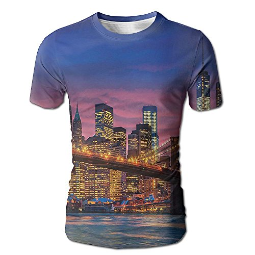 Kooiico Men's New York NYC That Never Sleeps Image Neon Lights Reflections On East River City Image Fashion Tshirts White -