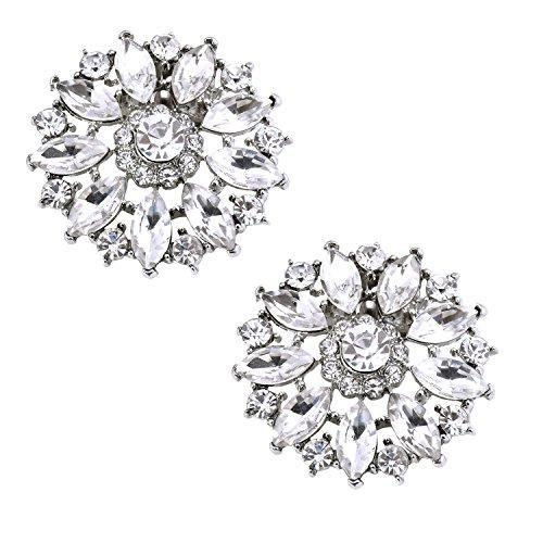 ElegantPark BQ Shoes Clips Round Rhinestones Crystal Fashion Wedding Party Decorative 2 Pcs Silver (Shoes Accessories Prom)