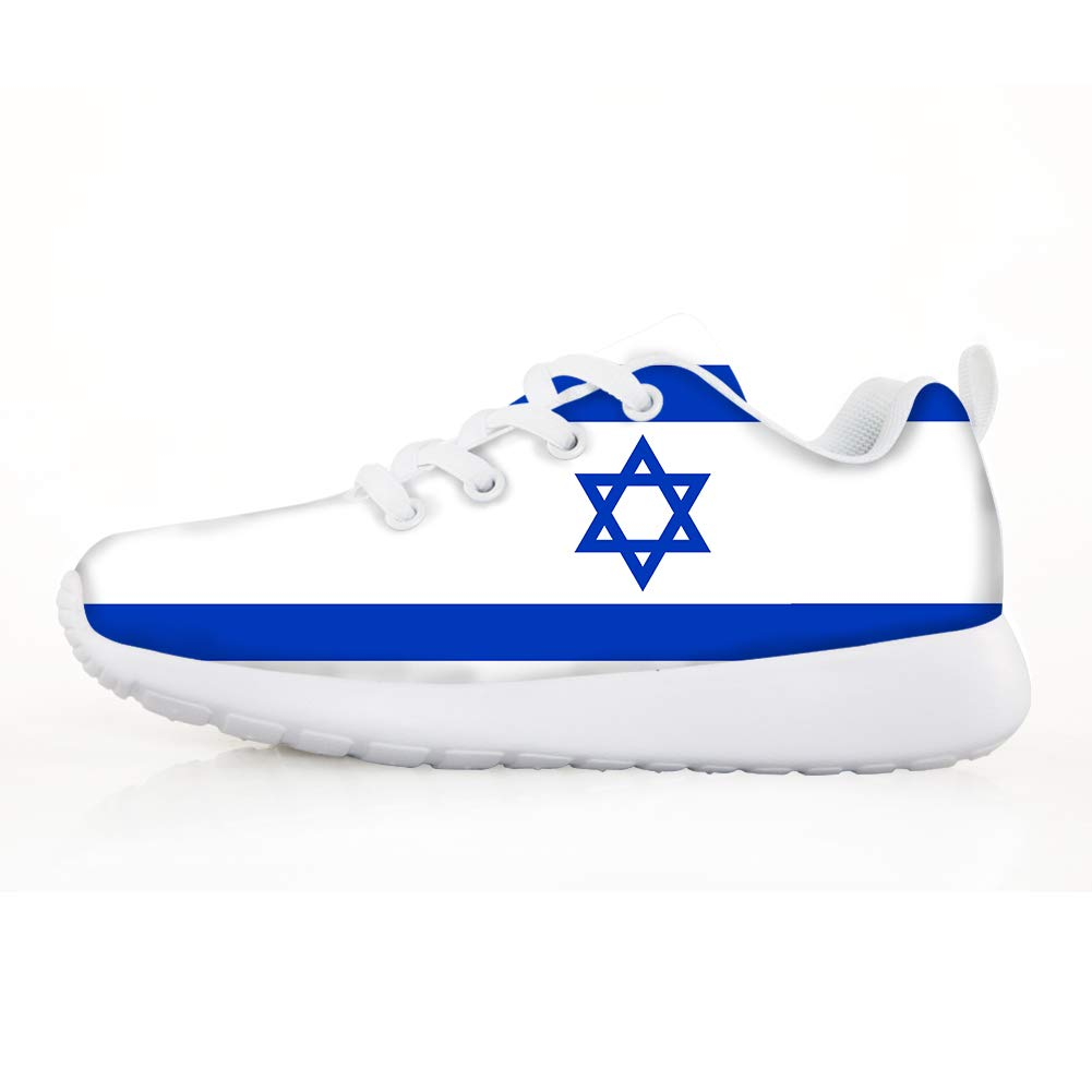 Owaheson Boys Girls Casual Lace-up Sneakers Running Shoes Israel Flag
