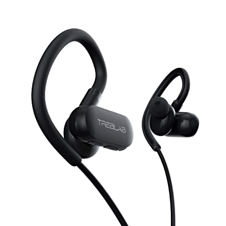 TREBLAB xRun – Prime Sports Wireless Earbuds of 2019 – Ultramodern Earphones Made for Running Gym Workout. IPX4 Waterproof Sweatproof, Bluetooth 5.0 Cordless Headphones, Noise Cancelling Microphone