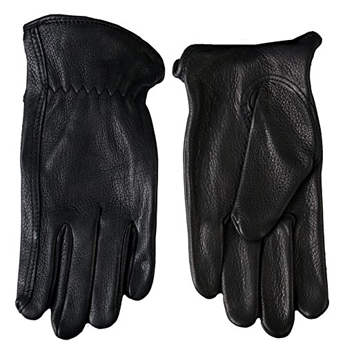 Hot Leathers Classic Deerskin Unlined Driving Gloves (Black, Small)