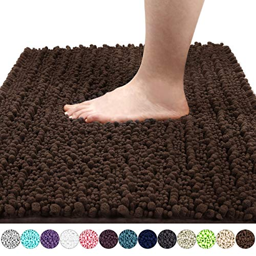 Yimobra Original Luxury Shaggy Bath Mat, Super Absorbent Water, Non-Slip, Machine-Washable, Soft and Cozy, Thick Modern for Bathroom Bedroom (31.5 X 19.8 Inch, Brown) (Baby Blue And Chocolate Brown Baby Shower)