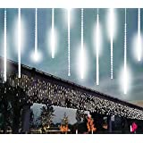 TianNorth Meteor Shower Lights,8 Ultra Bright LED Waterproof cicle Raindrop Lights 19.68 inches Tubes for Christmas,tree,Wedding, Party,Yard,etc (White)