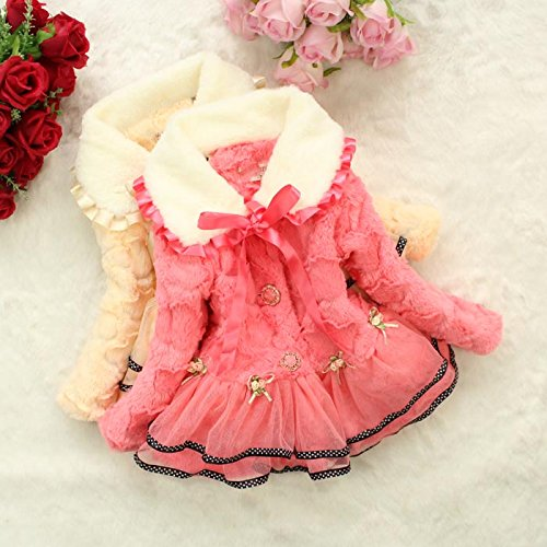 Baby Girls Kids Faux Fur Lace Warm Jacket Winter Coat Snowsuit Outwear Clothing 5T/4-5Years Pink by Dolpind (Image #7)