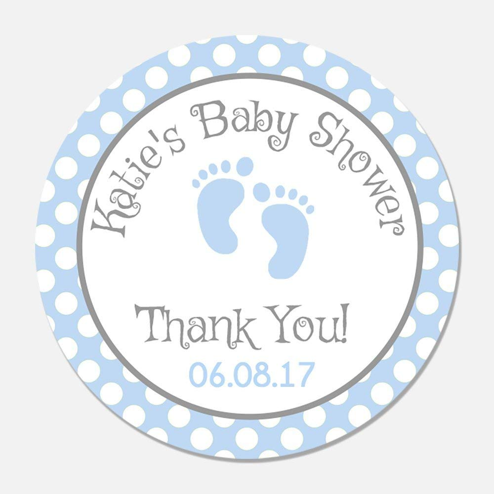 Amazon com 40 personalized blue baby feet shower favor stickers baby boy favor tags customized baby shower favors toys games
