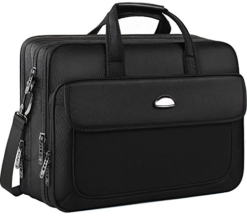 Large Attache (17 inch Laptop Bag, Travel Briefcase with Organizer, Expandable Large Hybrid Shoulder Bag, Water Resisatant Business Messenger Briefcases for Men Fits 17 Inch Laptop, Computer, Tablet-Black)