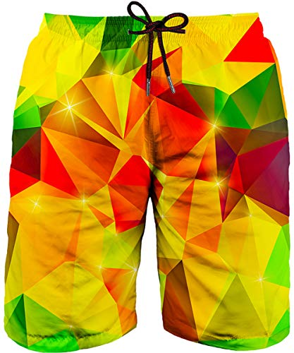 Asylvain Men's Neon Swimming Trunk Shorts with Yellow and Red Graphic Bathing Suit Board for Men, Large ()