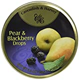 Cavendish & Harvey Pear & Blackberry Drops, 5.3 oz Tins in a BlackTie Box (Pack of 3)