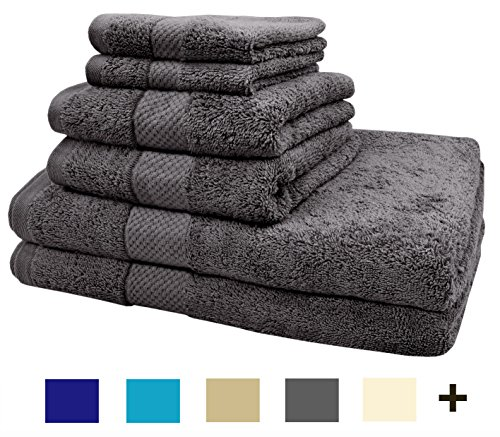 TreeWool 6 Piece Luxury Bathroom Towel Set  600 GSM Supreme