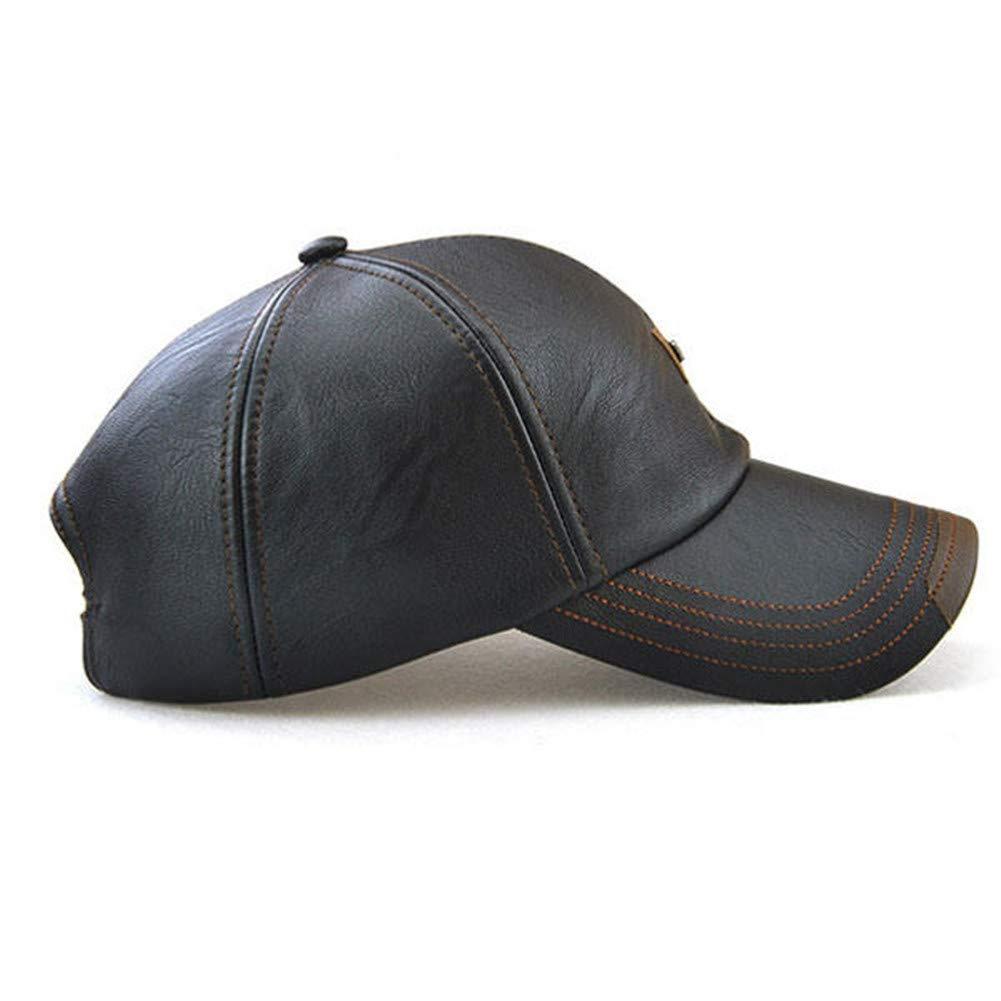 699bffb14ba HSRT Men Vintage PU Leather Baseball Cap Windproof Warm Hats Adjustable  Driving Hat Sport caps