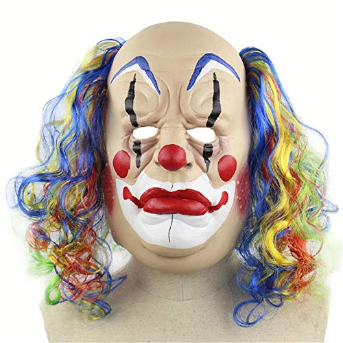 Halloween Mask, Curly Bald Clown Mask for Men, Prank Mask, Safe Latex Horror Funny Mask for Halloween Costume Party and Masquerade]()