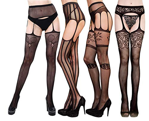 Style Pantyhose Suspender (Fishnet Stockings MultiPack High Waist Fishnets Pantyhose 2-4 Pairs Sexy Mesh Net Tight DancMolly (Suspender-Style 2, One Size))