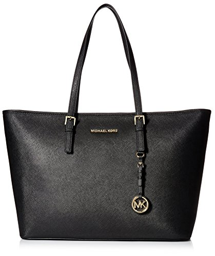 MICHAEL Michael Kors Women's Jet Set Travel Medium Top Zip Mult Funt Tote, Black, One Size ()