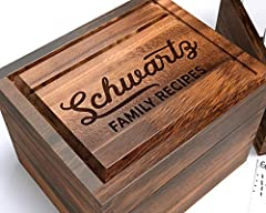 Our stunningly gorgeous Wood Recipe Box is a perfect Thanksgiving gift -- it will be a treasured heirloom for generations! Made of gorgeous Acacia hardwood, this Recipe Box is functional and beautiful due to its rich, shimmering colors. Perfe...