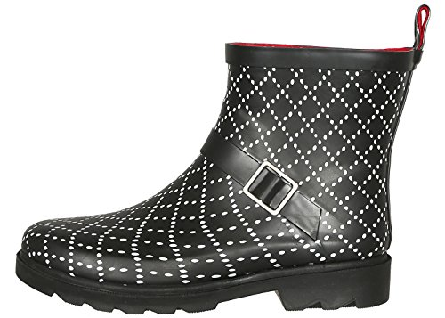 Capelli New York Ladies Dotted Diamonds Printed Short Rain Boot Red Combo 10 by Capelli New York