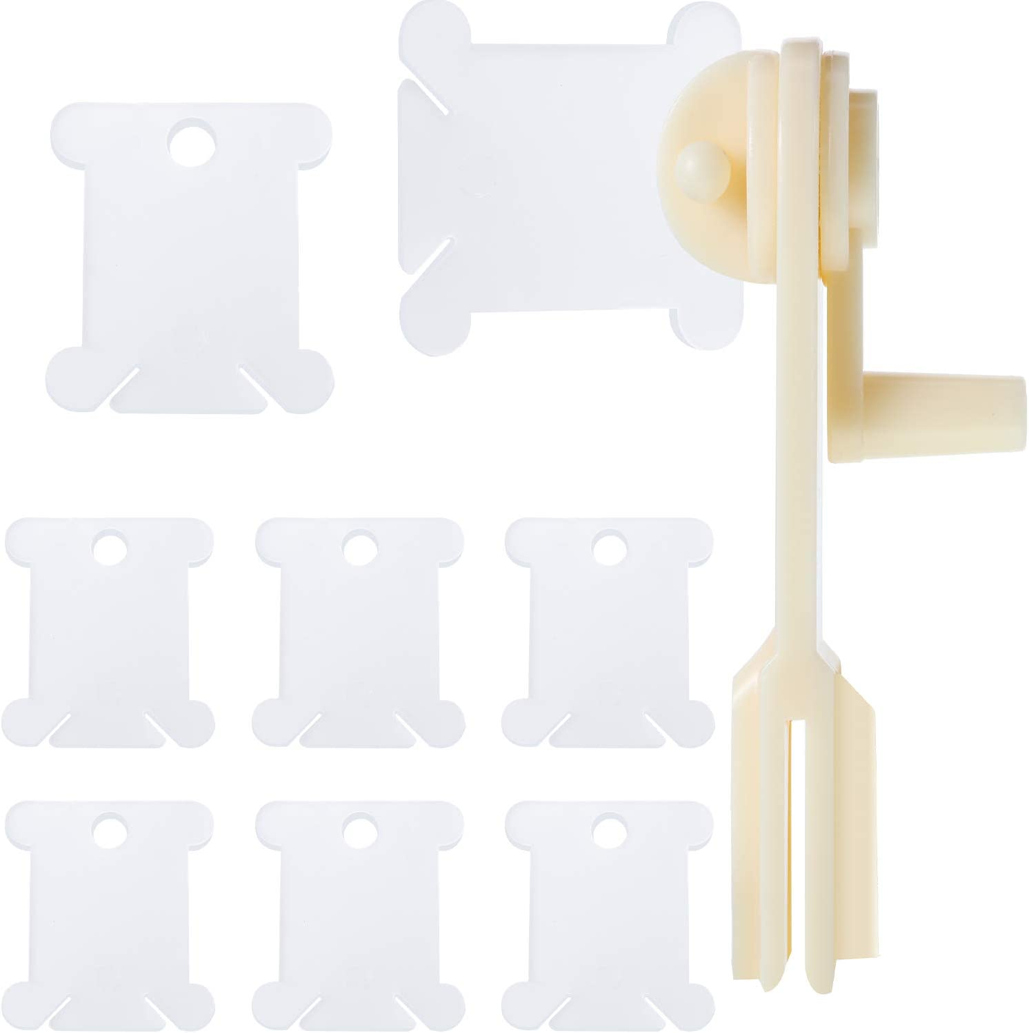 300 Pieces Plastic Floss Bobbins with Floss Winder for Embroidery Floss Organizer Cross-Stitch Thread Holder