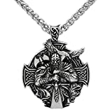 GuoShuang Men Viking Odin Wolf and Raven with Compass Pendant Necklace Double Side with Gift Bag