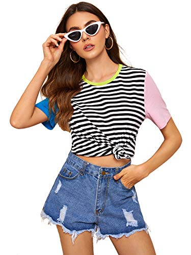 ROMWE Women's Colorblock Stirped Short Sleeve Summer Casual Tee Shirt Top Multicolor_4 S