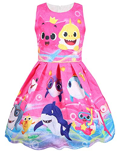 AOVCLKID Toddler Girls Baby Princess Dress up Shark Cartoon Print Party Gown Dress (Rose,100/2-3Y) ()