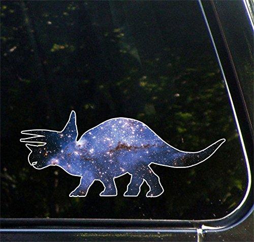 "Cosmic Triceratops - Galaxy - Vinyl Dinosaur Decal for Cars | Trucks | ATVs | RVs | Outdoor Use - Copyright Yadda-Yadda Design Co. (7""w x 3""h)"