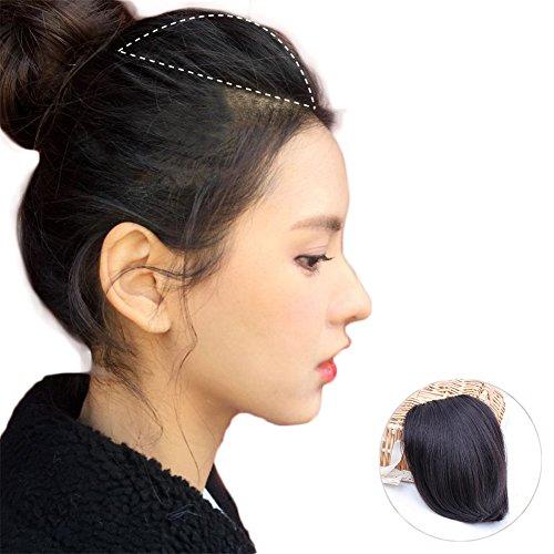 10 Inches Human Hair Clip in Crown Bangs Closure 3