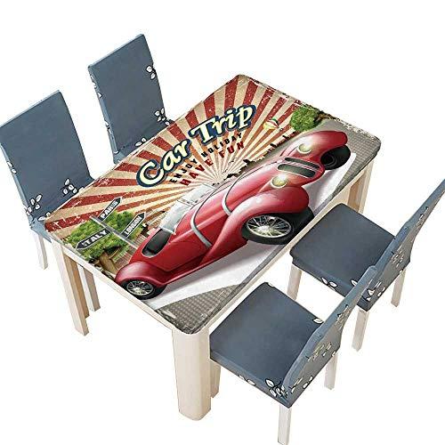PINAFORE Polyester Tablecloth Table Cover Affiche un Design attrayant rétro de Voyage en Voiture avec coloré Ville Fond for Dining Room W73 x L112 INCH (Elastic Edge) -