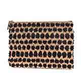Straw Clutch Purses Handbag Women Casual Evening Envelope Bag Wallet with Pocket Natural Summer Beach Bag Pompoms Accents(Black)