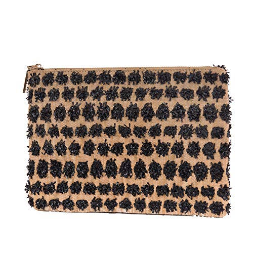 Purses Handbag Natural Clutch C01 Casual Beach Accents Summer with Bag Pompoms Bag Women Evening Envelope Pocket Black Wallet Straw P5SxdwEqP
