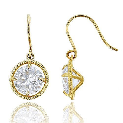 14K Yellow Gold 6.00mm Round Cut Rope Solitaire Dangling Earring (10k Earrings Rope)