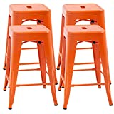 FDW Set of 4 Bar Industrial Metal Patio Furniture 24 Inches Kitchen Counter Indoor/Outdoor Stool Moden Stackable Barstools Restaurant Dining Chairs, Orange